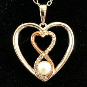 18k Rose Gold Silver Pearl Heart Necklace $125
